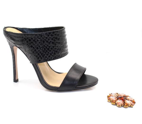 Beautiful Sandals - Black Snakeskin Sandals