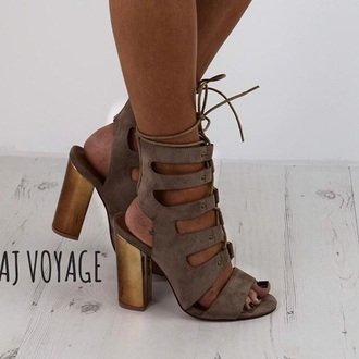 shoes heels high heels suede heels taupe rose gold