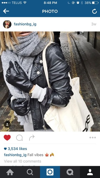 scarf heather grey leather gloves grey heather leather jacket black leather jacket black leather gloves
