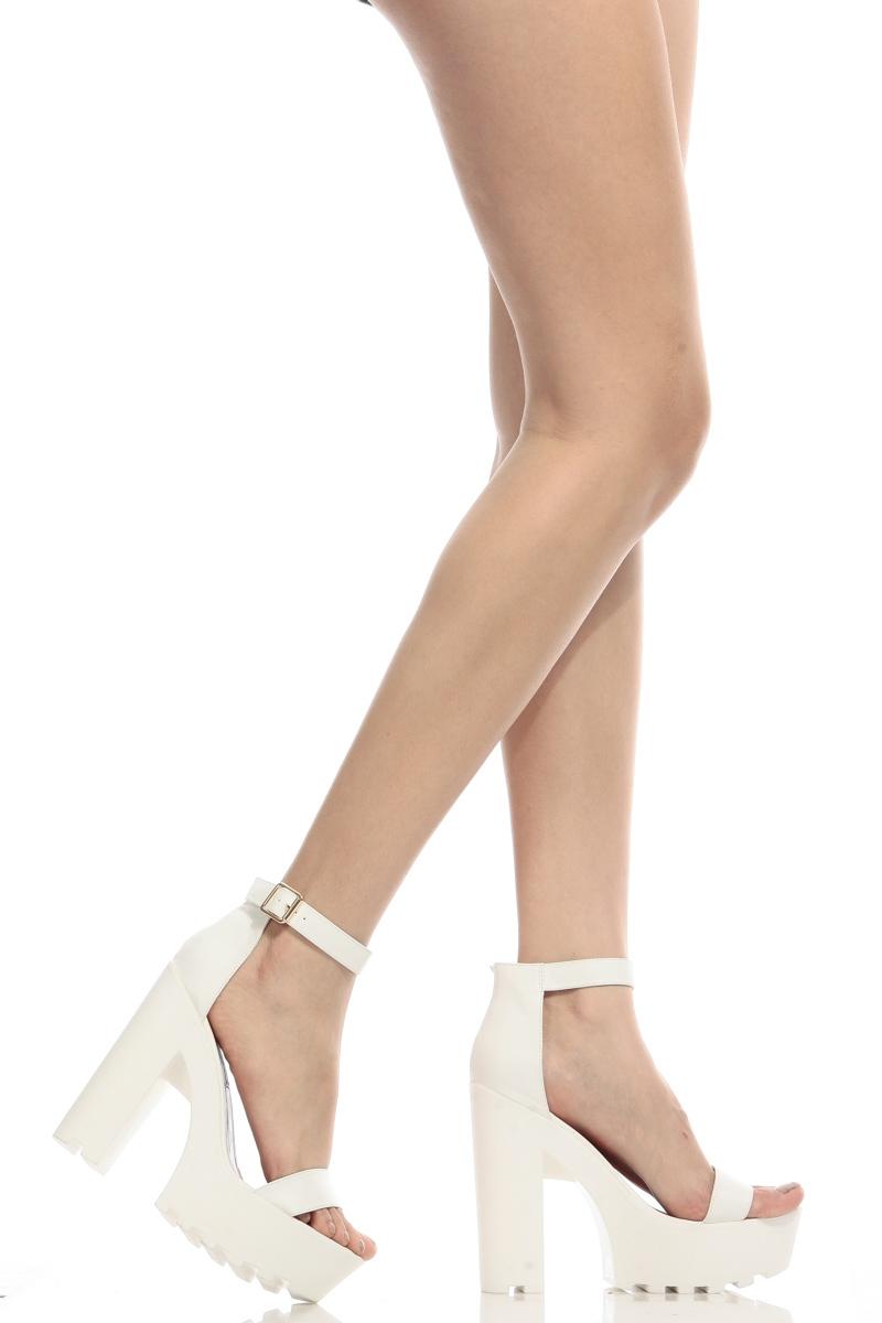 Faux Leather Ankle Strap Lug Sole Chunky Heels @ Cicihot Heel ...
