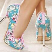 shoes,floral,stilettos,high heels,heels,bows
