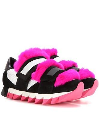 fur mesh embellished sneakers suede shoes