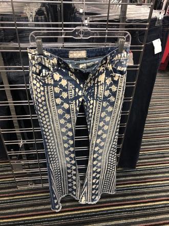 jacket free people flare jeans denim print boho jeans white blue pants pattern
