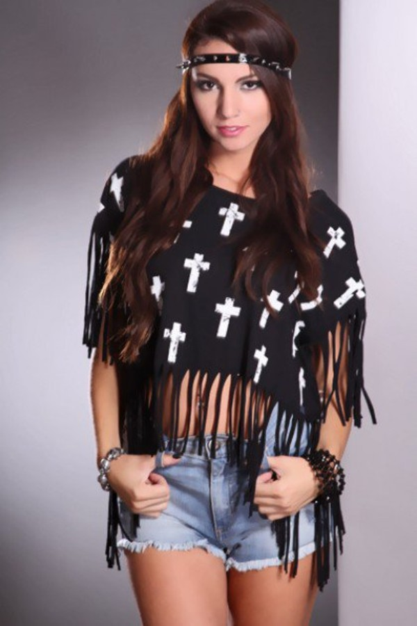 blouse fringes crop tops