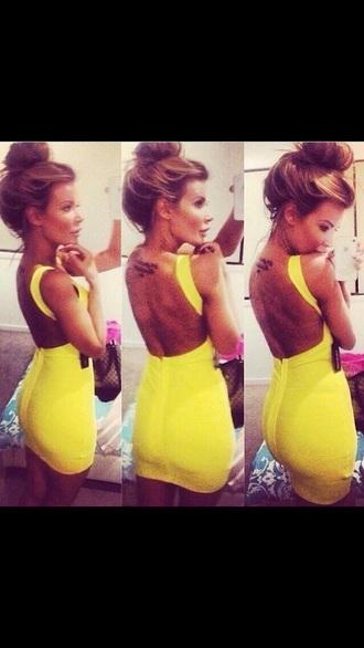 dress yellow yellow dress short dress party outfits backless dress bodycon dress