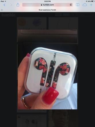 earphones apple flower earphones