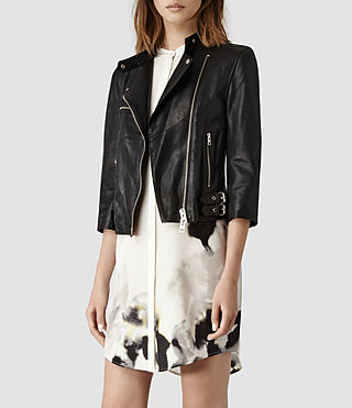 Womens Turne Leather Biker Jacket (Anthracite) | ALLSAINTS.com
