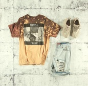 shirt,nirvana,bleach dyed,graphic tee,t-shirt