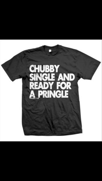 t-shirt black teeshirt black t-shirt funny funny shirt top chubby single pringle