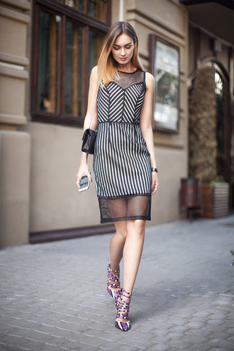 fashion agony blogger dress shoes bag jewels black and white black dress mesh dress see through date outfit purple shoes