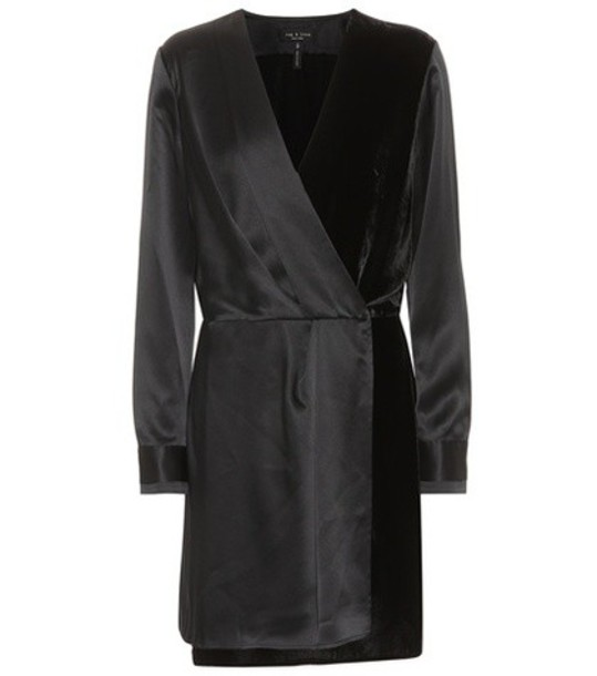 Rag & Bone Victor satin and velvet dress in black