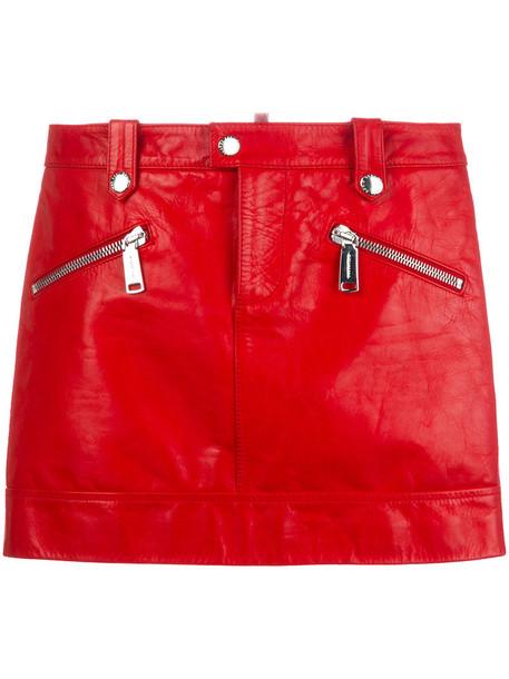 Dsquared2 skirt mini skirt mini women leather cotton red