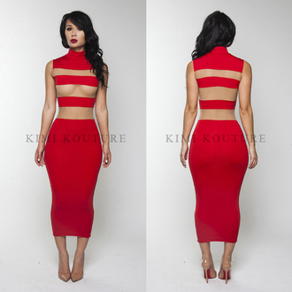 dress kardashians red dress turtleneck dress louboutin