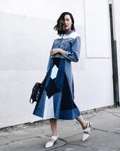 skirt,tumbr,shoes,white shoes,midi skirt,patchwork,blue skirt,shorts,jacket,denim jacket,denim,blue jacket,bag,black bag,spring outfits