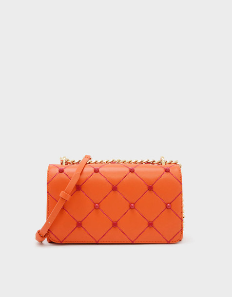 Embellished Quilted Clutch in orange