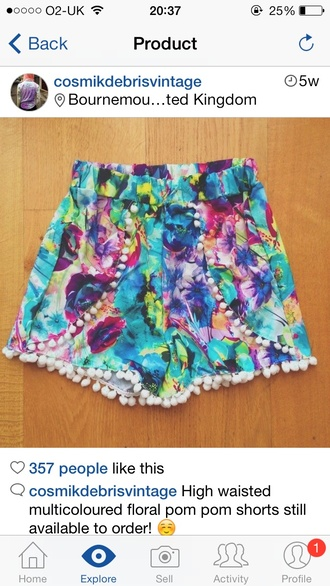 multi colour pom pom shorts multi colored