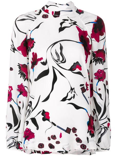 Dorothee Schumacher blouse high women high neck floral white silk top