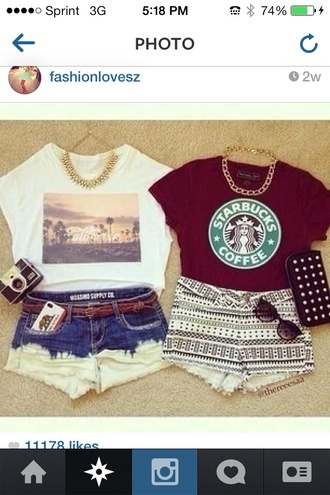 t-shirt shorts sunglasses jewels shirt thefashionsecret red t-shirt star bucks chain tribal shoes california starbucks coffee top tank top trendy funny teenagers beach summer style cute calafornia blouse maroon starbucks shirt dark red starbucks t-shirts maroon/burgundy red