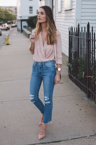 prosecco and plaid blogger blouse jeans bag shoes jewels scarf cropped bootcut jeans cropped bootcut blue jeans ripped jeans blue jeans wrap top pink top watch pumps