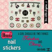 nail polish,nail art,stickers,decals,glitter,silver,bag,chanel,diy,decoration,hot,symbol,logo,nail accessories,nails