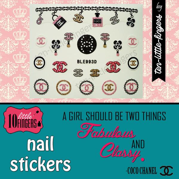 nail polish nail art stickers decals glitter silver bag chanel diy decoration hot symbol logo nail accessories nails