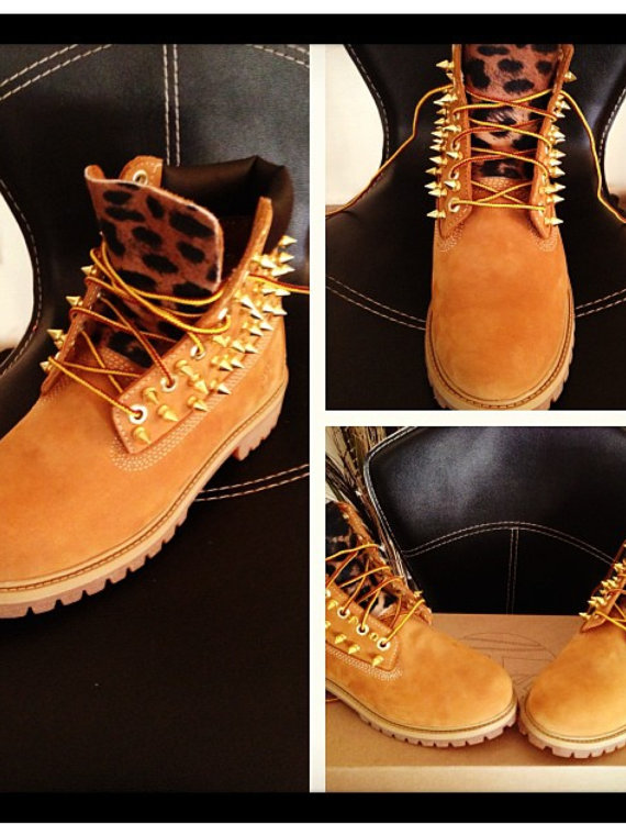 Custom spiked timberland boots sizes 7 and up only by suchashowoff