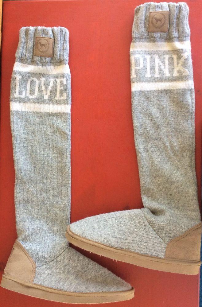 8a6bf0d81e RARE Victoria s Secret Pink Mukluks Knit Slipper Boots M 7 8 Gray ...