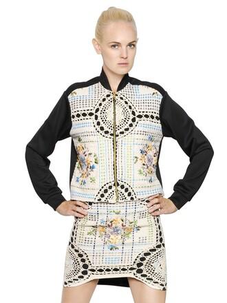 jacket bomber jacket cotton crochet neoprene black beige