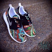 shoes,nike,roshi runs,trainers,nike sneakers,roshe runs,nike roshe run,roshes,running shoes,paisley,floral,aztec,runs,multicolor,sneakers