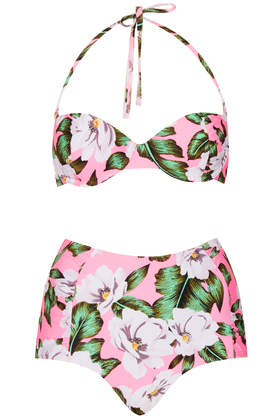 Pink Floral High Waist Bikini - Swimwear  - Clothing  - Topshop