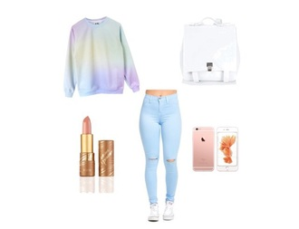 sweater pastel coloured sweater tie dye blue jeans pastel white backpack iphone pastel sweater lipstick ripped jeans back to school