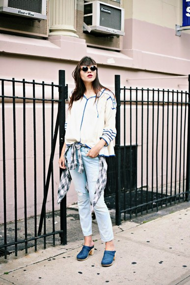 natalie off duty shoes blouse jeans