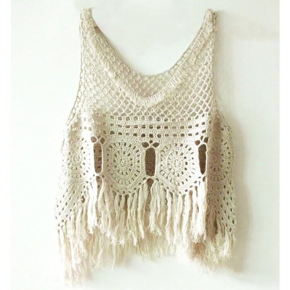 Crochet Top With Fringe Hem Detail