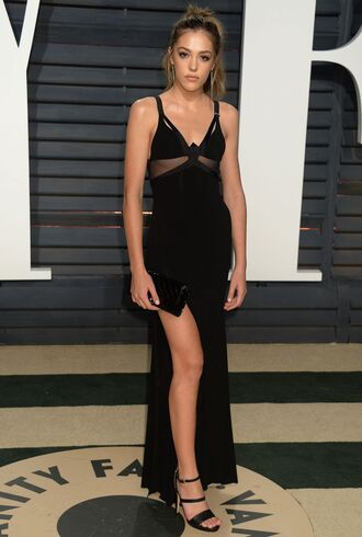 dress sistine stallone model oscars oscars 2017 gown prom dress black dress slit dress sandals maxi dress
