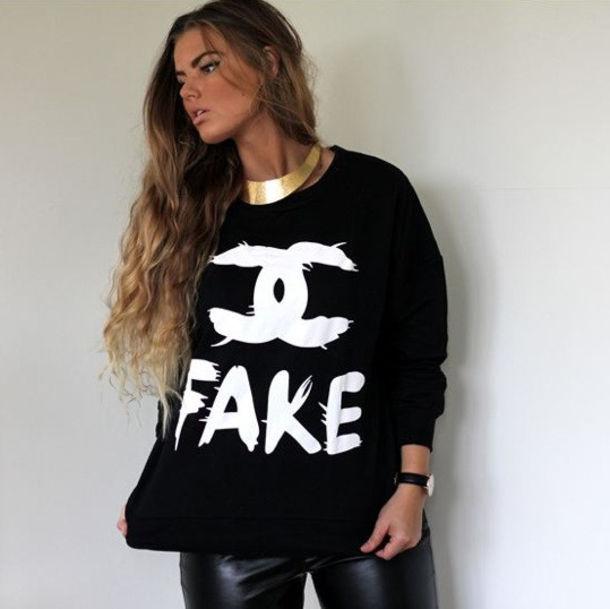 sweater black white fake chanel cc crewneck pullover