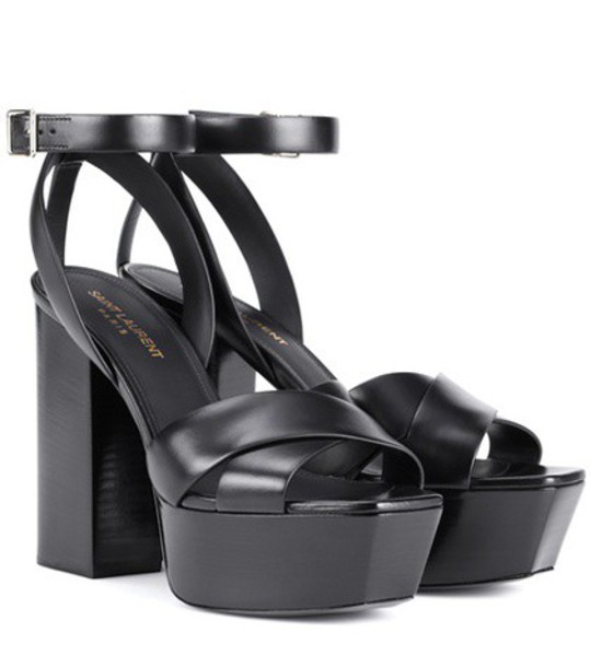 Saint Laurent Farrah 80 leather plateau sandals in black