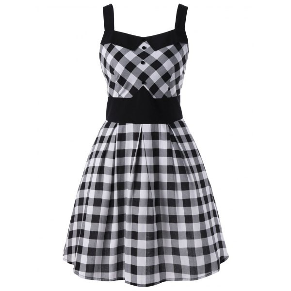 Rosewholesale Single Breasted Plaid Dress in black