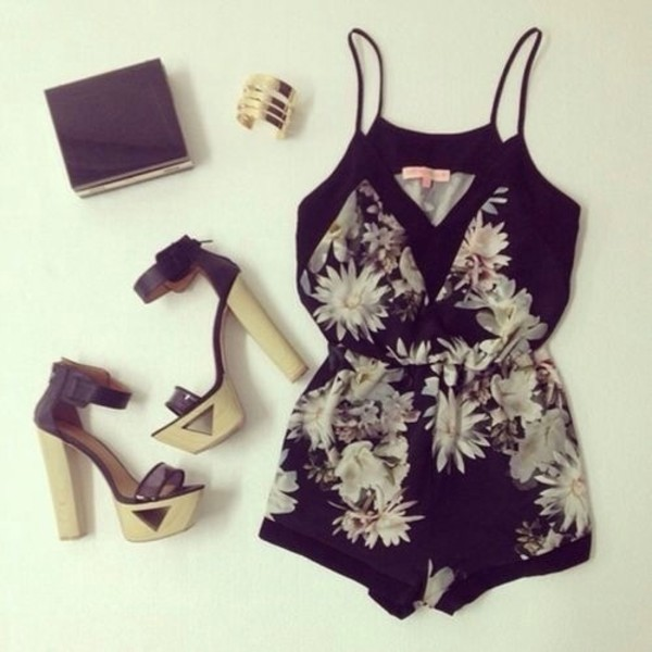 dress jewels shoes jumpsuit black tropical flowers