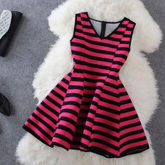 dress hot pink striped dress stripes black black dress v neck