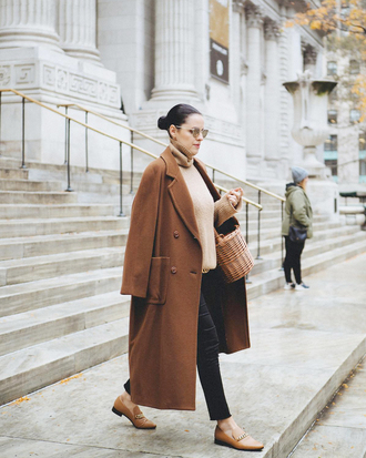coat tumblr brown brown coat long coat shoes loafers brown shoes knit knitwear knitted sweater turtleneck sweater bag sunglasses