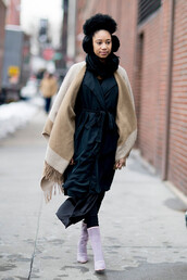 scarf,nyfw 2017,fashion week 2017,fashion week,streetstyle,blanket scarf,coat,duster coat,black coat,dress,black dress,boots,white boots,high heels boots,earmuffs