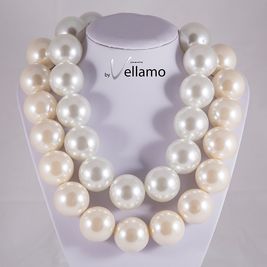 statement design necklace, large faux pearl necklace, cream white ...