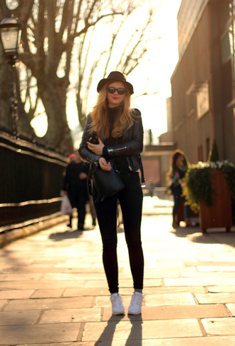 deadly in love blogger hat sunglasses jacket top bag jeans black leather jacket black jeans white sneakers