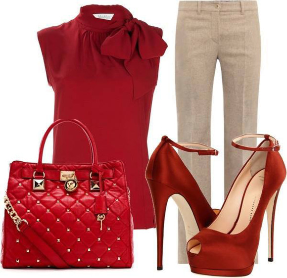 shoes bag red shoes pants blouse beautiful outfit top red bags red top beige pants classy woman