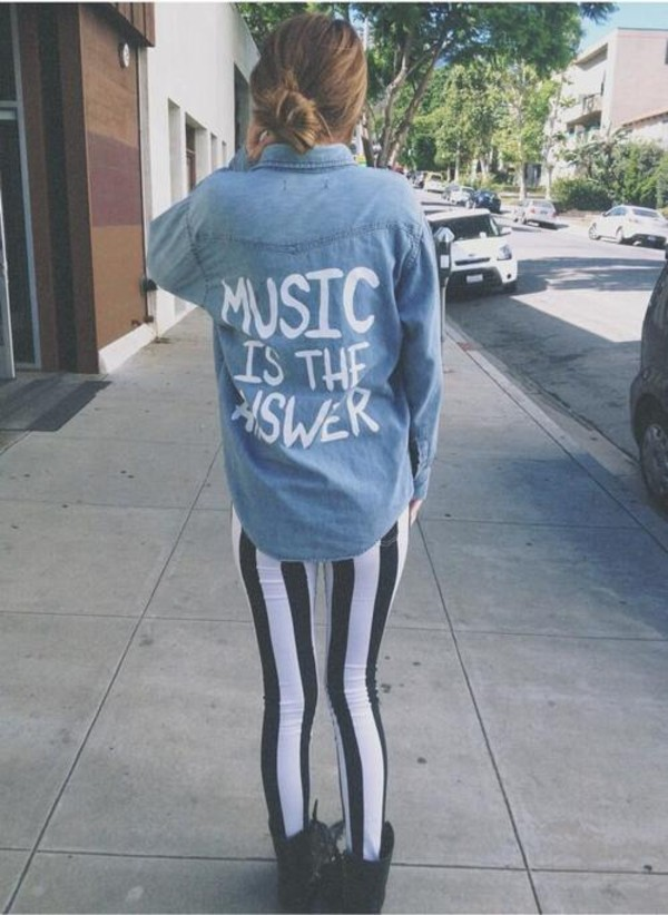 shirt its so cute music is the answer acacia brinley pants jacket acacia brinley music top blouse white pretty denim shirt quote on it black and white girl shirts guy shirt leggings