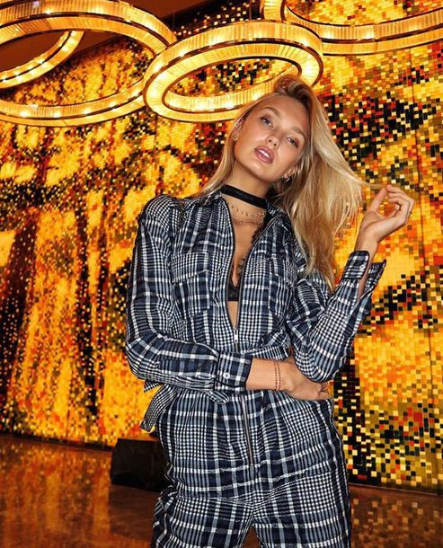 jumpsuit plaid pants romee strijd model off-duty choker necklace fall outfits