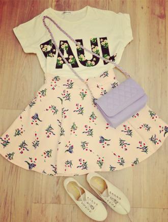jewels skirt shirt shoes purse paul crop tops lilac purse purple paul shirt floral skater skirt