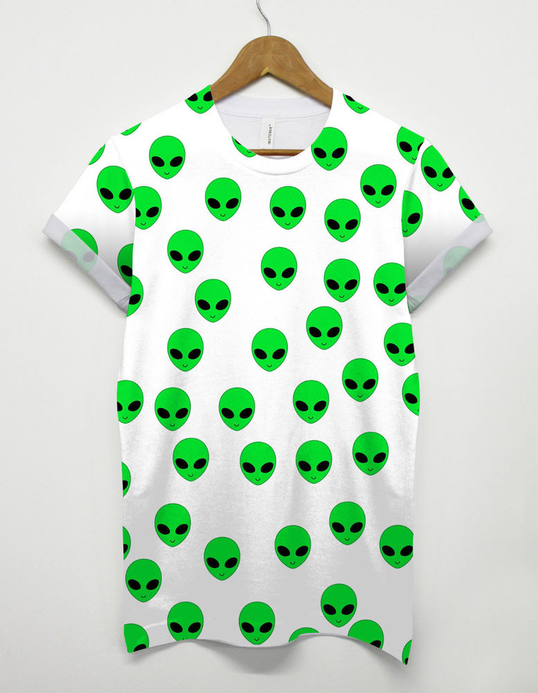 Alien All Over T Shirt Funny Space Top Tee Galaxy Cosmic Mars Life Green Gunge