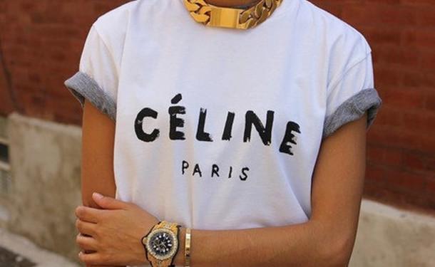 t-shirt gold paris white sweet celine paris shirt celine white shirt top shirt jewels gold chain necklace logo shirt