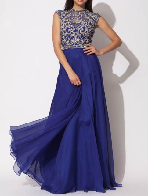 Royal blue chiffon backless elie saab evening dress with silver crystals
